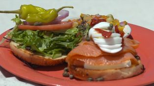 Lox and Bagel Platter with a Perfect Bloody Mary