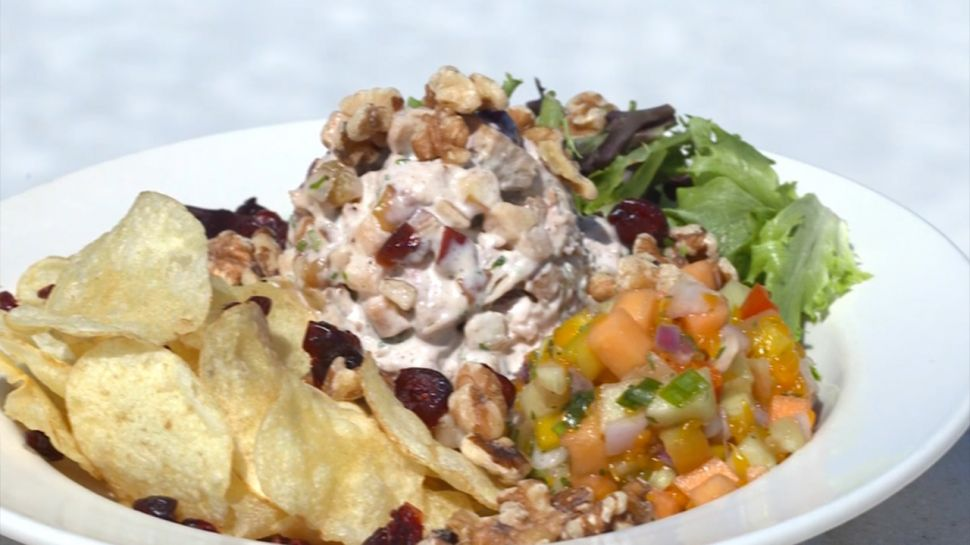 Gala Apple, Walnuts, and Roasted Chicken Salad with a Tasty Sunset Splash